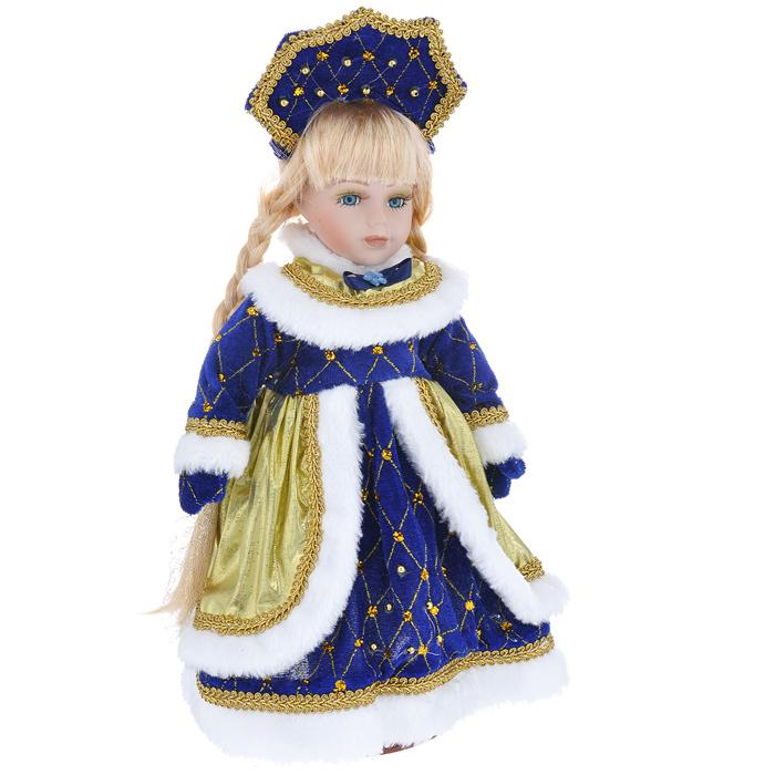 Декоративная керамическая кукла Снегурочка Сонечка, на подставке, 30 см. 3580535805Великолепная кукла Снегурочка, выполненная из керамики, займет достойное место в вашей коллекции. Туловище куклы мягконабивное. Лицо с трогательным взглядом обрамлено пышными ресницами, а светлые шелковистые волосы заплетены в длинные косы. Кукла максимально приближена к живому прототипу - юной леди с румянцем на щеках. Снегурочка наряжена в роскошную шубку темно-синего цвета, украшенную золотистой тесьмой, блестками и бусинами, а также золотистым текстилем и меховой опушкой белого цвета. Кукла одета в белые панталоны. На ногах - бежевые башмачки из искусственной кожи. На голове - кокошник, декорированный бусинами, тесьмой и блестками. Кукла установлена на подставку, благодаря которой вы можете поместить ее в любом понравившемся вам месте. Такая кукла станет чудесным подарком на Новый год.