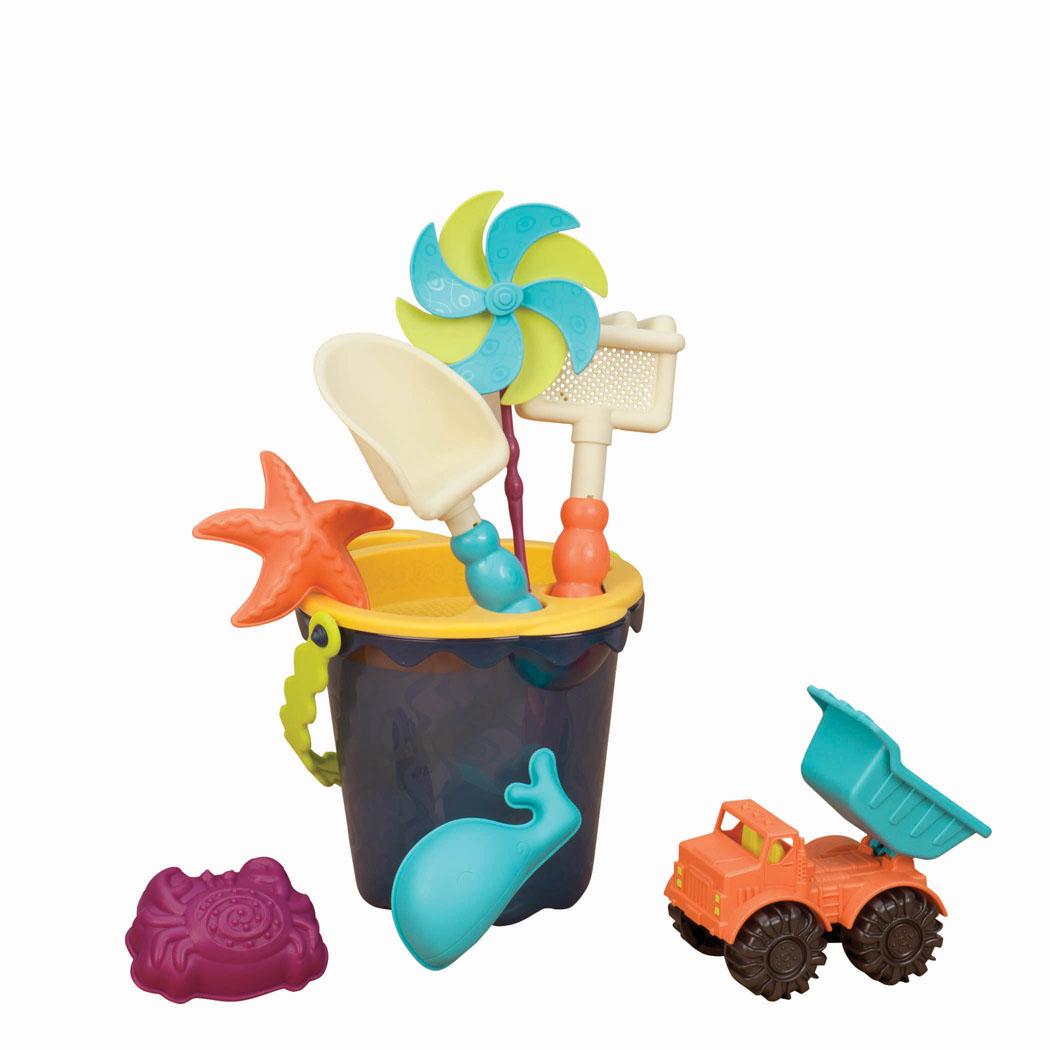 B.Summer Ведерко малое и игровой набор для песка Sands Ahoy! 9 предметов цвет темно-синий - Игры на открытом воздухе