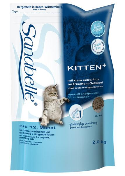 Корм сухой Sanabelle Kitten для котят до года и беременных кормящих кошек, 2 кг пудовъ мука ржаная обдирная 1 кг