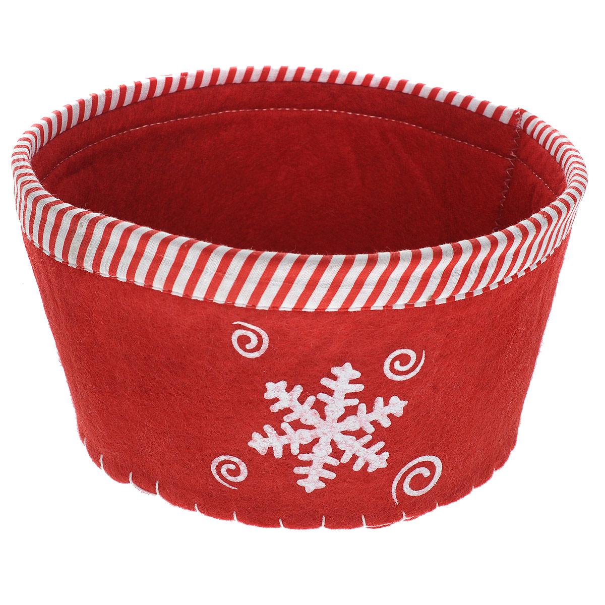 Сухарница House & Holder Снежинка, цвет: красный. 117003117003Оригинальная сухарница House & Holder Снежинка, выполненная из фетра, декорирована отстрочкой и текстильной окантовкой по краю, а также рисунком снежинки.Сухарница станет необычным дополнением к праздничному столу, послужит приятным и полезным сувениром для близких и родных.