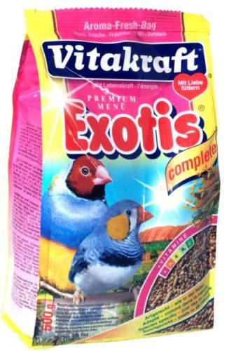 Корм для экзотических птиц Vitakraft Exotis, 500 г18112Основной корм для экзотических птиц Vitakraft Exotis, обогащенный минералами, витаминами и протеином. Корм поддерживает обмен веществ и здоровье птиц. Состав: зерновые, злаковые, минеральные вещества, веществарастительного происхождения, дрожжи, мед. Анализ состава: белок - 12,6%, витамин А - 6000 МЕ, жир - 5,5%, витамин Д3 - 600 МЕ,зола - 3,8%, витамин С - 55 мг, целлюлоза - 9%, витамин В2 - 3 мг.Товар сертифицирован.