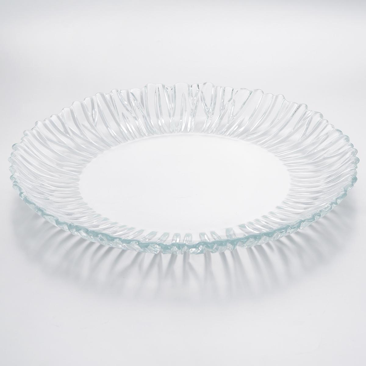 Блюдо Pasabahce Аврора, диаметр 31 см10499BБлюдо Pasabahce Аврора изготовлено из прочного закаленного натрий-кальций-силикатного стекла с повышенной термостойкостью. Изделие имеет круглую форму, украшено изящным рельефом. Блюдо прекрасно подходит для подачи тортов, пирогов и другой выпечки, а также различных закусок и нарезок. Блюдо красиво оформит праздничный стол и удивит вас стильным дизайном. Можно мыть в посудомоечной машине и использовать в микроволновой печи.