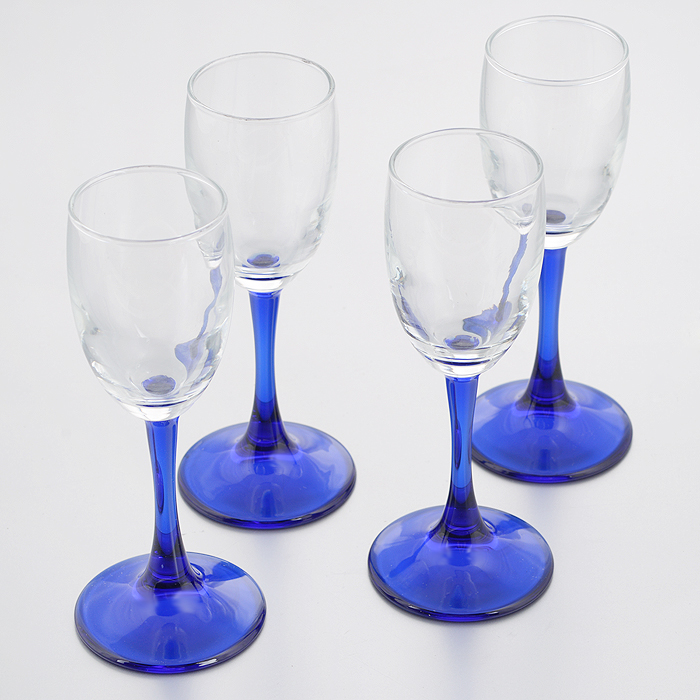 Набор бокалов для водки Pasabahce Workshop Imperial, цвет: синий, 73 мл, 4 шт imperial plus набор фужеров 6шт вино 315мл 4 64 pasabahce 4 1063139