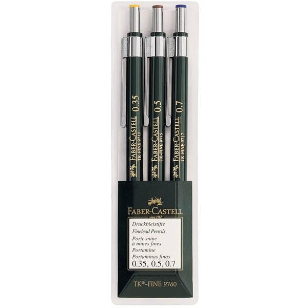Механические карандаши TK®-FINE, 0,35, 0,5, 0,7мм, в пластмассовом пенале, 3 шт.136030Вид карандаша: Механический.Твердость грифеля: HB.Материал: пластик и сталь.