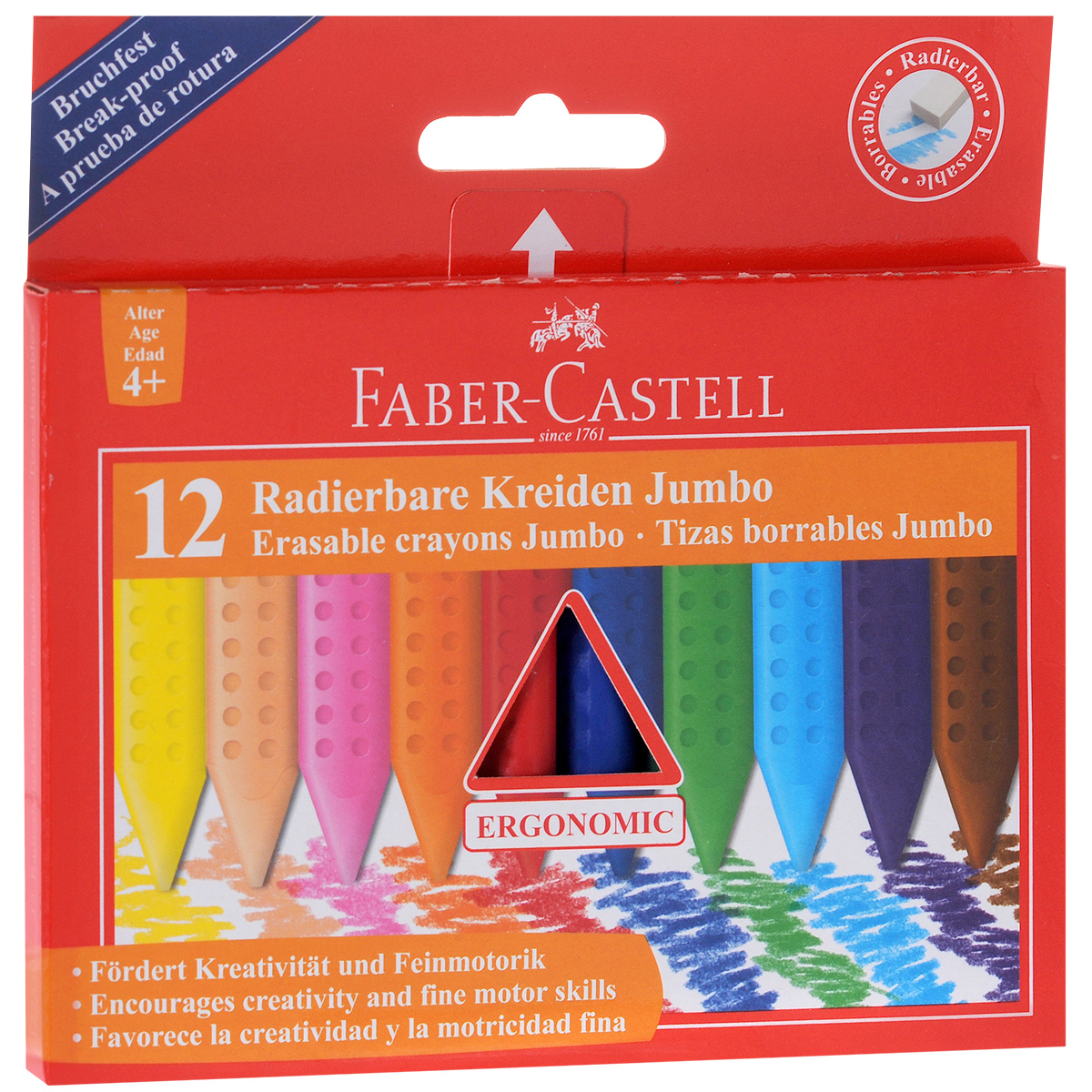 Восковые мелки Faber-Castell Radierbare Kreiden Jumbo, стирающиеся, 12 цветов faber castell восковые карандаши клоун 24 цвета