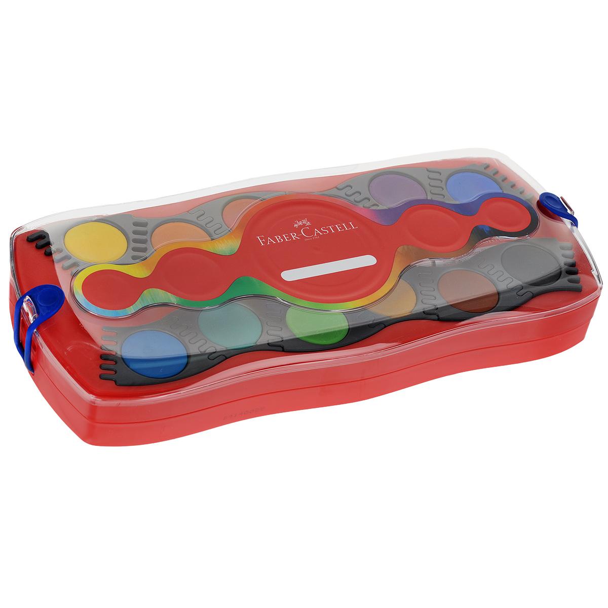 Акварельные краски Faber-Castell Connector, 24 шт125029Акварельные краски Faber-Castell Connector идеально подойдут как для детского художественного творчества, так и для изобразительных и оформительских работ. Краски легко размываются, создавая прозрачный цветной слой, отлично смешиваются между собой, не крошатся и не смазываются, быстро сохнут. В наборе 24 краски ярких, насыщенных цветов, а также тюбик с белой краской и кисть. Каждый цвет представлен в основе круглой формы, располагающейся в отдельной ячейке, которую можно перемещать либо комбинировать с нужными красками, что делает процесс рисования легким и удобным. Коробка представляет собой два поддона для ячеек с красками с отсеками для кисти и белой краски, а крышка - палитру.Отличный подарок для любителя рисовать акварелью! Рекомендуемый возраст: от 8 лет.