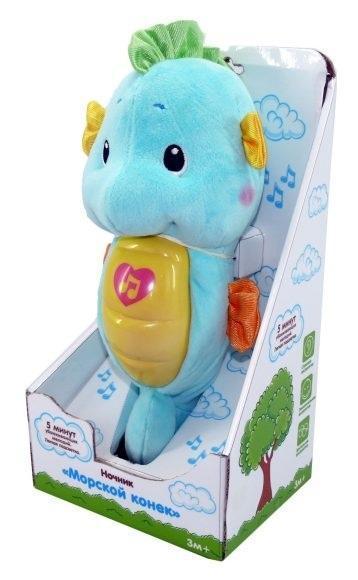 Жирафики Ночник морской конек муз.,подсветка, голубой, элементы питания входят в комплект ночники жирафики ночник морской конек