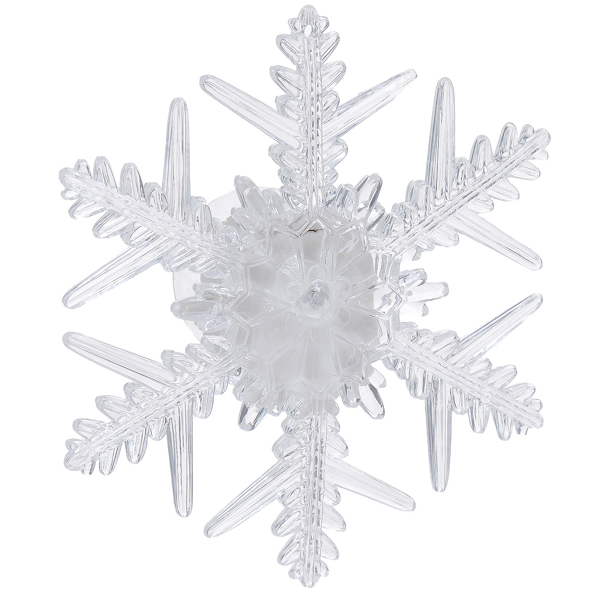 Фигурка Lillo Снежинка, с подсветкой, 10,5 см х 9 смLS-0001 SLФигурка Lillo Снежинка изготовлена из прозрачного пластика. Изделие выполнено в виде снежинки и оснащено присоской. Подсветка включается с помощью переключателя сбоку фигурки. Свечение плавно переходит из одного цвета в другой. Красивая фигурка ярко дополнит интерьер дома, офиса или детской в преддверии Нового года.Размер фигурки: 10,5 см х 9 см