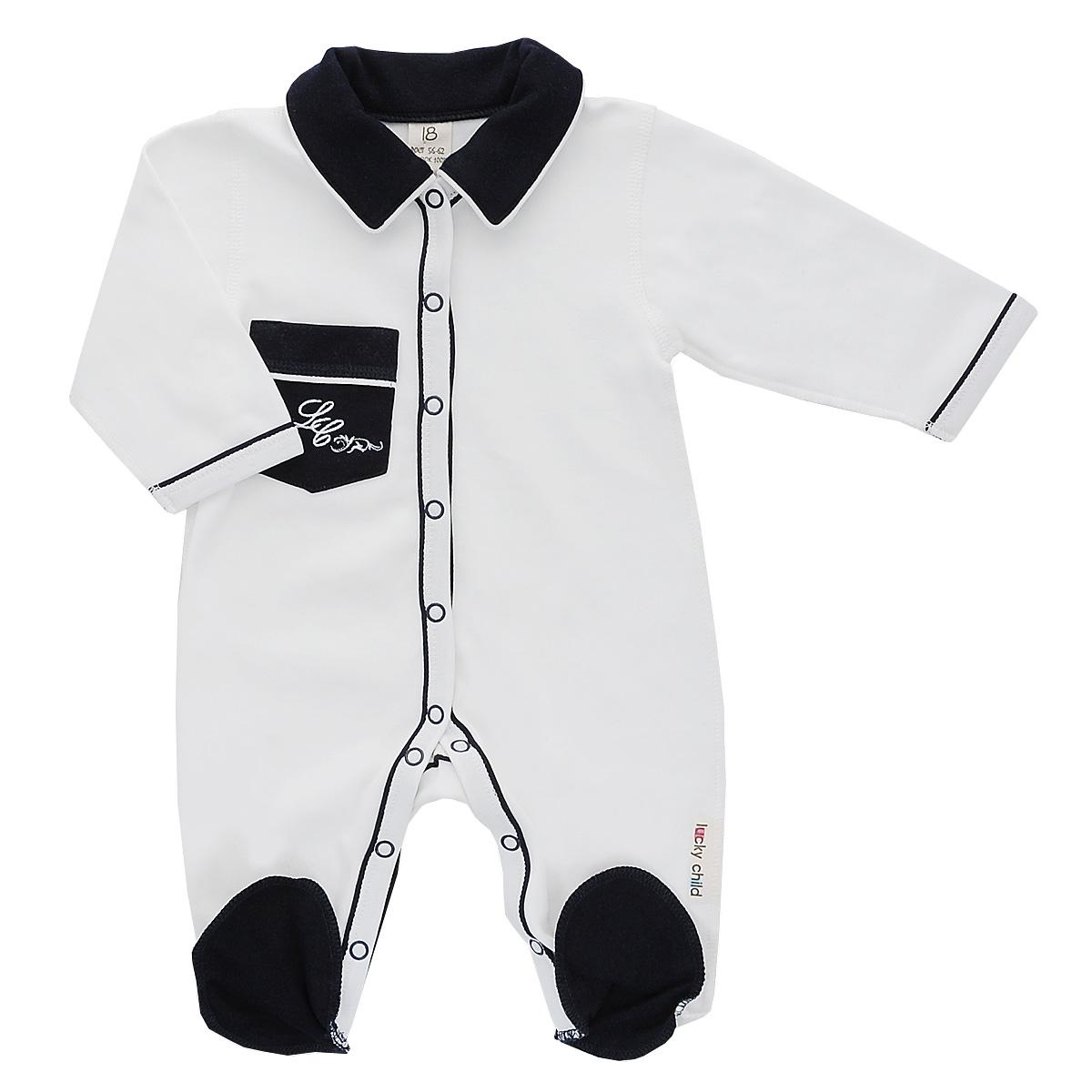Комбинезон для мальчика Lucky Child, цвет: молочный. 20-1. Размер 74/8020-1Детский комбинезон Lucky Child - очень удобный и практичный вид одежды для малышей. Комбинезон выполнен из натурального хлопка, благодаря чему он необычайно мягкий и приятный на ощупь, не раздражает нежную кожу ребенка и хорошо вентилируется, а плоские швы приятны телу ребенка и не препятствуют его движениям.Комбинезон с длинными рукавами, отложным воротничком и закрытыми ножками, выполнен швами наружу. Он застегивается на кнопки от горловины до щиколоток, благодаря чему переодеть младенца или сменить подгузник будет легко.Низ рукавов и планка с кнопками дополнены контрастными вставками. Спереди на комбинезоне имеется накладной кармашек, декорированный вышивкой. Воротник выполнен в контрастном цвете.С детским комбинезоном спинка и ножки вашего ребенка всегда будут в тепле, он идеален для использования днем и незаменим ночью. Комбинезон полностью соответствует особенностям жизни младенца в ранний период, не стесняя и не ограничивая его в движениях!