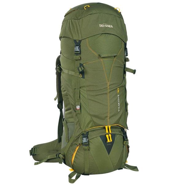 Рюкзак туристический Tatonka Yukon 80, цвет: темно-зеленый1423.036Высокотехнологичный рюкзак Tatonka Yukon 80 предназначен для продолжительных походов. Регулируемая система подвески V2 оптимально распределяет нагрузку на бедра. Спинка с мягкой подкладкой, обтянутая терморегулирующей сеточкой Airmesh, обеспечивает комфорт и вентиляцию при длительных переходах. Особенности рюкзака:Подвеска V2.Регулируемая крышка-клапан.Мягкие регулируемые лямки и набедренный пояс.Дополнительный доступ в основное отделение.Большой передний карман на молнии.Боковые карманы.Боковые стяжки.Ручки для переноски.Крепление для ледоруба.Дождевой чехол.Отделение для питьевой системы.Отделение для аптечки.Держатель для ключей.