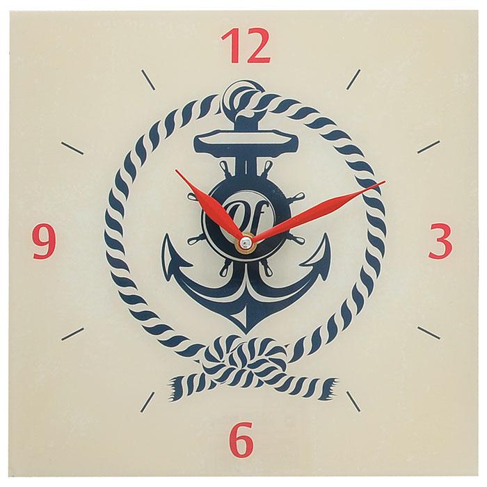 Часы настенные Якорь. 2780727807Настенные часы квадратной формы Якорь своим эксклюзивным дизайном подчеркнут оригинальность интерьера вашего дома. Часы выполнены из стекла.Часы имеют две стрелки красного цвета - часовую и минутную. Циферблат часов не защищен стеклом. Настенные часы Якорь подходят для кухни, гостиной, прихожей или дачи, а также могут стать отличным подарком для друзей и близких. Часы работают от одной батарейки типа АА (не входят в комплект).