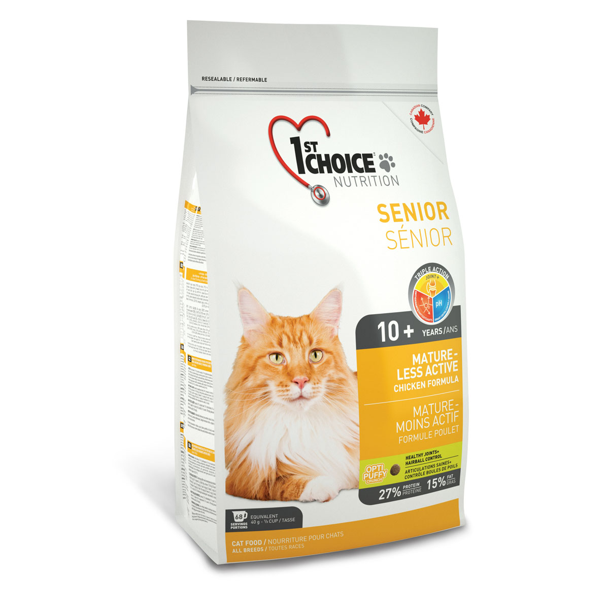 Корм сухой 1st Choice Mature Less Active для пожилых или малоактивных кошек, с курицей, 2,72 кг56678Сухой корм 1st Choice Mature Less Active - идеальный выбор для пожилого животного. Обогащенный глюкозамином и хондроитином, этот корм улучшает здоровье суставов и облегчает их подвижность. Специальные питательные вещества и антиоксиданты замедляют процесс старения.Идеальный рН-баланс поддерживает здоровье мочевыделительной системы. Также корм способствует укреплению костей и здоровью суставов. рН - контроль помогает снизить риск образования камней в мочевыделительной системе.Ингредиенты: свежая курица 17%, мука из мяса курицы 17% (натуральный источник глюкозамина и хондроитина), рис, коричневый рис, специально обработанные ядра ячменя и овса, гороховый протеин, куриный жир, сохраненный смесью натуральных токоферолов (витамин Е), сушеное яйцо, гидролизат куриной печени, мякоть свеклы, цельное семя льна, клетчатка гороха, сушеная мякоть томата, жир лосося, калия хлорид, лецитин, кальция карбонат, холина хлорид, соль, кальция пропионат, натрия бисульфат, экстракт дрожжей, таурин, экстракт цикория, DL- метионин, L-лизин, железа сульфат, коллагена пептид, аскорбиновая кислота (витамин С), цинка оксид, натрия селенит, альфа-токоферол ацетат (витамин Е), глюкозамина сульфат, никотиновая кислота, хондроитина сульфат, экстракт юкки Шидигера, L-цистин, кальция иодат, марганца оксид, L-карнитин, D-кальция пантотенат, тиамина мононитрат, рибофлавин, пиридоксина гидрохлорид, витамин А, холекальциферол (витамин Д3), биотин, сушеная мята (0,01%), сушеная петрушка (0,01%), экстракт зеленого чая (0,01%), цинка протеинат, витамин В12, кобальта карбонат, фолиевая кислота, марганца протеинат, меди протеинат. Гарантированный анализ: сырой протеин мин. 27%, сырой жир мин. 15%, сырая клетчатка макс. 3,5%, влага макс. 10%, зола макс. 8,5%, кальций мин. 1%, фосфор мин. 0,9%, марганец макс. 0,1%, таурин 2100 мг/кг, витамин А мин. 34 000 МЕ/кг, витамин Д3 мин. 2 000 МЕ/кг, витамин Е мин. 150 МЕ