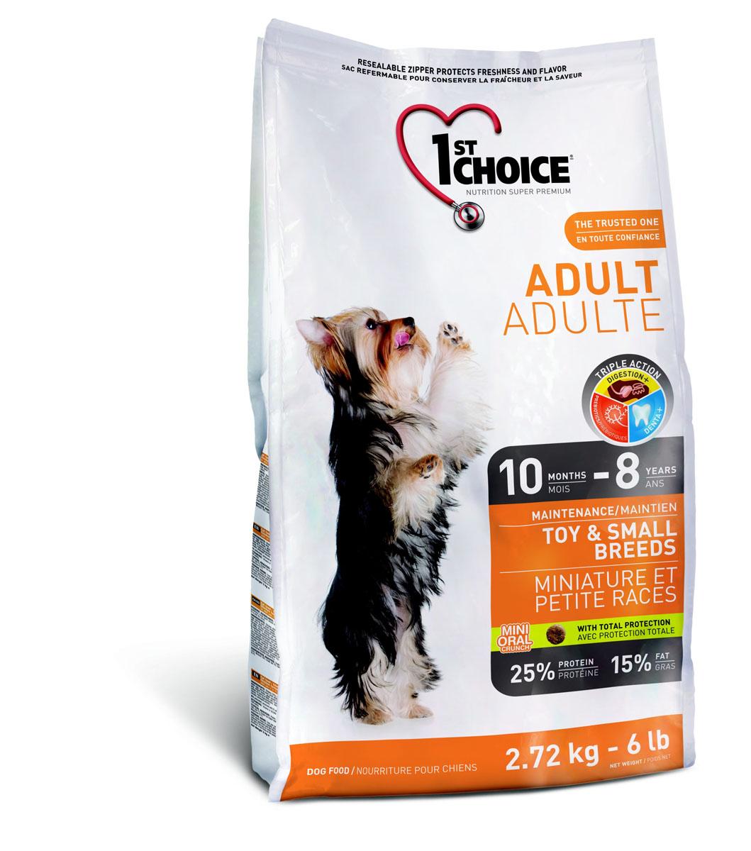 Корм сухой 1st Choice Adult для взрослых собак декоративных и мелких пород, с курицей, 2,72 кг корм сухой 1st choice adult для взрослых собак средних и крупных пород с курицей 7 кг