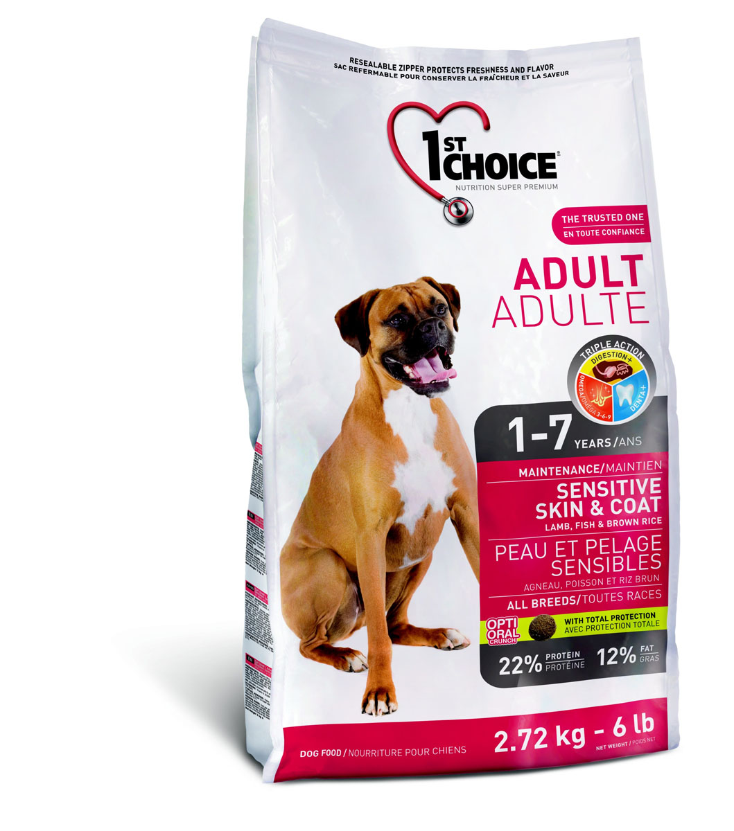"""Корм сухой 1st Choice """"Sensitive Skin & Coat"""" для взрослых собак с чувствительной кожей и шерстью, с ягненком, рыбой и рисом, 2,72 кг"""