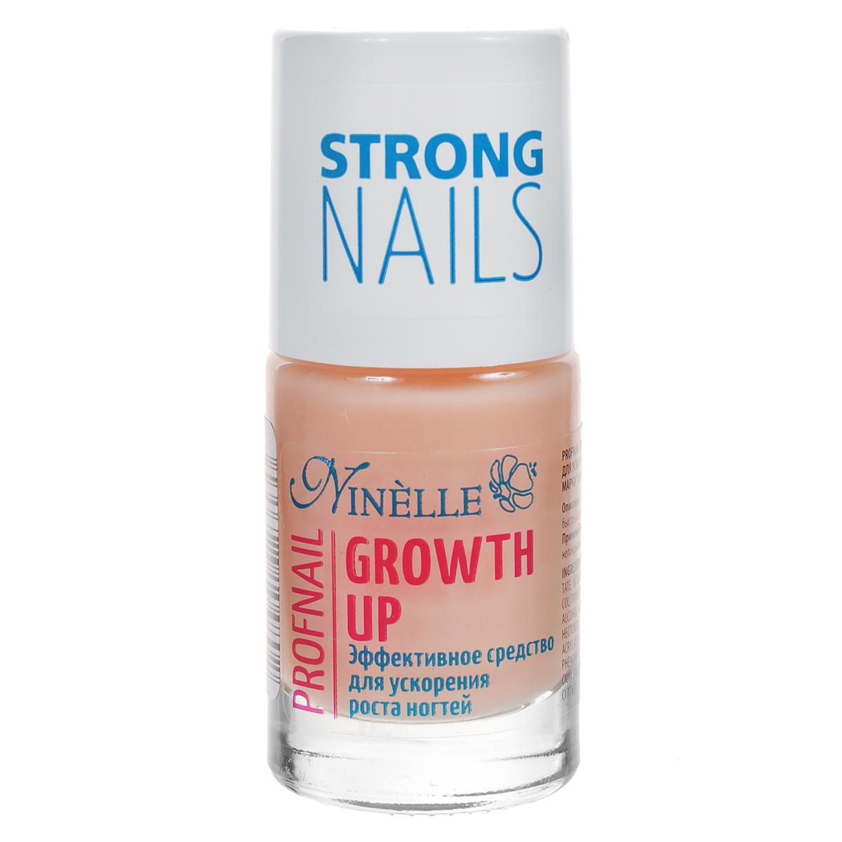 Ninelle Эффективное средство Growth Up для ускорения роста ногтей, 11 мл771N10480Эффективное средство по уходу за хрупкими и расслаивающимися ногтями, способствующее усиленному росту ногтей. В состав питательного средства входят кальций и экстракт сладкого миндаля. Средство стимулирует рост ногтей и предназначено для ухода за хрупкими и расслаивающимися ногтями. Подходит для ежедневного применения. Данный препарат обеспечивает ногтям максимально быстрый рост в течение 2-х недель.Товар сертифицирован.