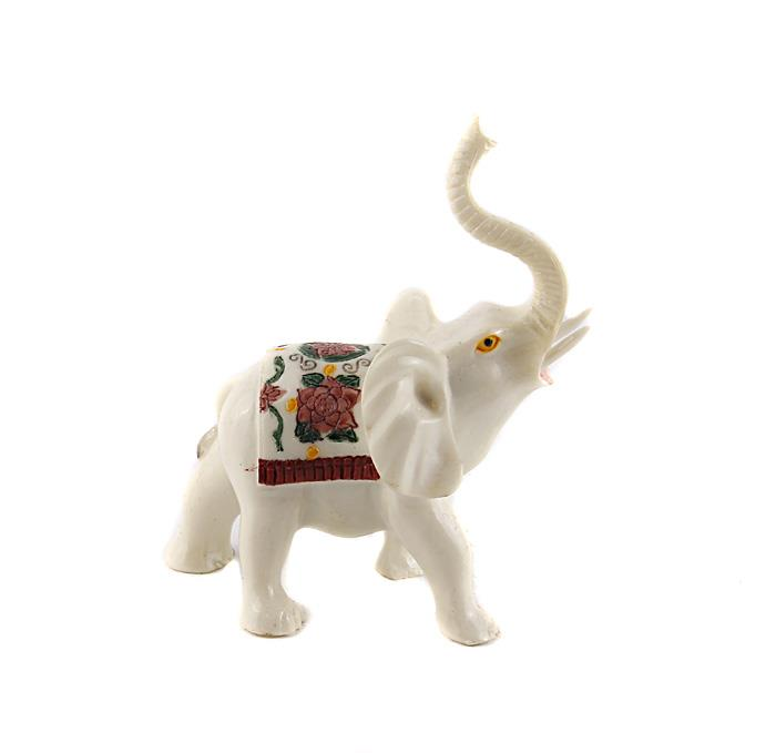 Статуэтка Белый слон в тибетском стиле. Резьба, роспись, полимерный материал. Юго-Восточная Азия, конец XX век белый слон белый слон пижама бело розовая