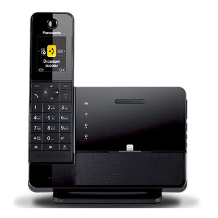 Panasonic KX-PRL260RUB DECT телефон с док-станцией для iPhone атс panasonic kx tem824ru аналоговая 6 внешних и 16 внутренних линий предельная ёмкость 8 внешних и 24 внутренних линий