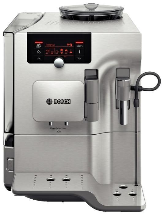 Bosch TES80323RW VeroSelection кофемашинаTES80323RWАвтоматический капучинатор, автовыключение, встроенная кофемолка, возможность работы с молотым кофе, дисплей, двухпорционная раздача за один процесс заваривания, индикатор уровня воды, индикатор включения, подача горячей воды, контейнер для отходов, программа удаления накипи, подогрев для чашек, регулировка по высоте узла выдачи кофе, программируем, регулировка температуры, регулировка степени помола, регулятор крепости, регулятор количества воды, фильтр, съемный лоток для сбора капель, энергосберегающий режим, электронное управление.Выбор напитков: ристретто, эспрессо, кафе крема, эспрессо макиато, капучино, латте макиато, кафе латте, молочная пенка, теплое молоко, горячая вода.