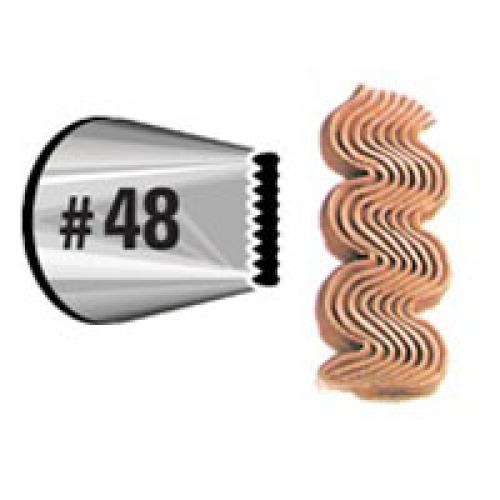 Насадка для кондитерского мешка Wilton, на подвесе, №48WLT-418-48Насадка для кондитерского мешка Wilton изготовлена из металла. Она используется для украшения кондитерских изделий и крепится стандартным фиксатором насадок. С ее помощью можно сделать красивые бантики и волнистые линии. С этой насадкой готовить станет намного удобнее!