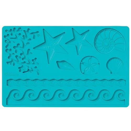 Молд для нанесения рисунка на мастику Wilton Морская жизнь, цвет: бирюзовый, 20 х 12,5 см wilton 12 silicone lips petite treat mold