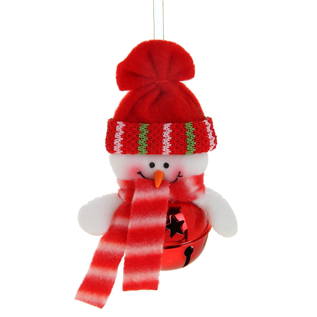 Новогоднее подвесное украшение Sima-land Снеговик, цвет: красный, 11 см х 7 см. 514038514038Новогоднее украшение Sima-land Снеговик прекрасно подойдет для праздничного декора вашего дома. Сувенир выполнен в виде металлического шара с текстильной фигуркой снеговика. Если встряхнуть украшение, вы услышите красивое мелодичное звучание. Изделие оснащено текстильной петелькой для подвешивания.Такая оригинальная фигурка оформит интерьер вашего дома или офиса в преддверии Нового года. Оригинальный дизайн и красочное исполнение создадут праздничное настроение. Кроме того, это отличный вариант подарка для ваших близких и друзей.Материал: металл, пластик, текстиль.
