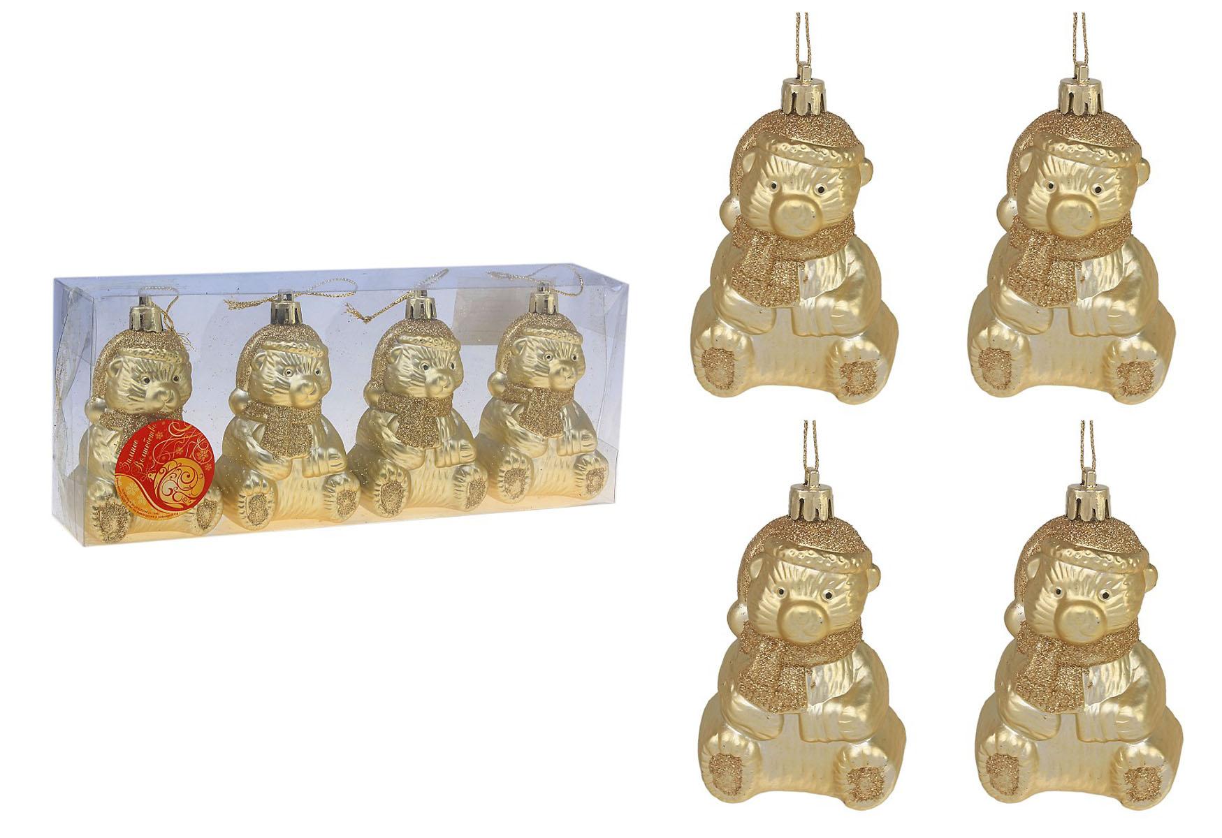 """Набор новогодних подвесных украшений Sima-land """"Мишки"""", цвет: золотистый, высота 9 см, 4 шт. 542353"""