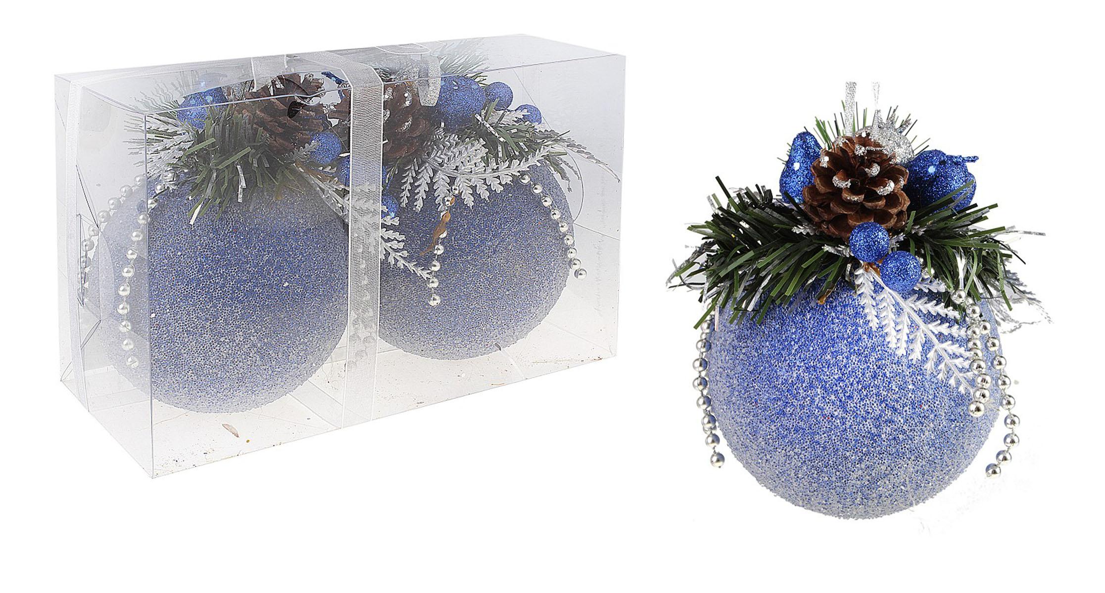 Набор новогодних подвесных украшений Sima-land Шар, цвет: синий, диаметр 10 см, 2 шт. 542597542597Набор новогодних подвесных украшений выполнен из рельефного пластика в форме шаров. Каждый шар оформлен декоративной композицией из еловых веток и шишек, пластиковых ягод, груш, листьев и бус. С помощью специальной петельки украшение можно повесить в любом понравившемся вам месте. Но, конечно, удачнее всего такой набор будет смотреться на праздничной елке.Елочная игрушка - символ Нового года. Она несет в себе волшебство и красоту праздника. Создайте в своем доме атмосферу веселья и радости, украшая новогоднюю елку нарядными игрушками, которые будут из года в год накапливать теплоту воспоминаний.