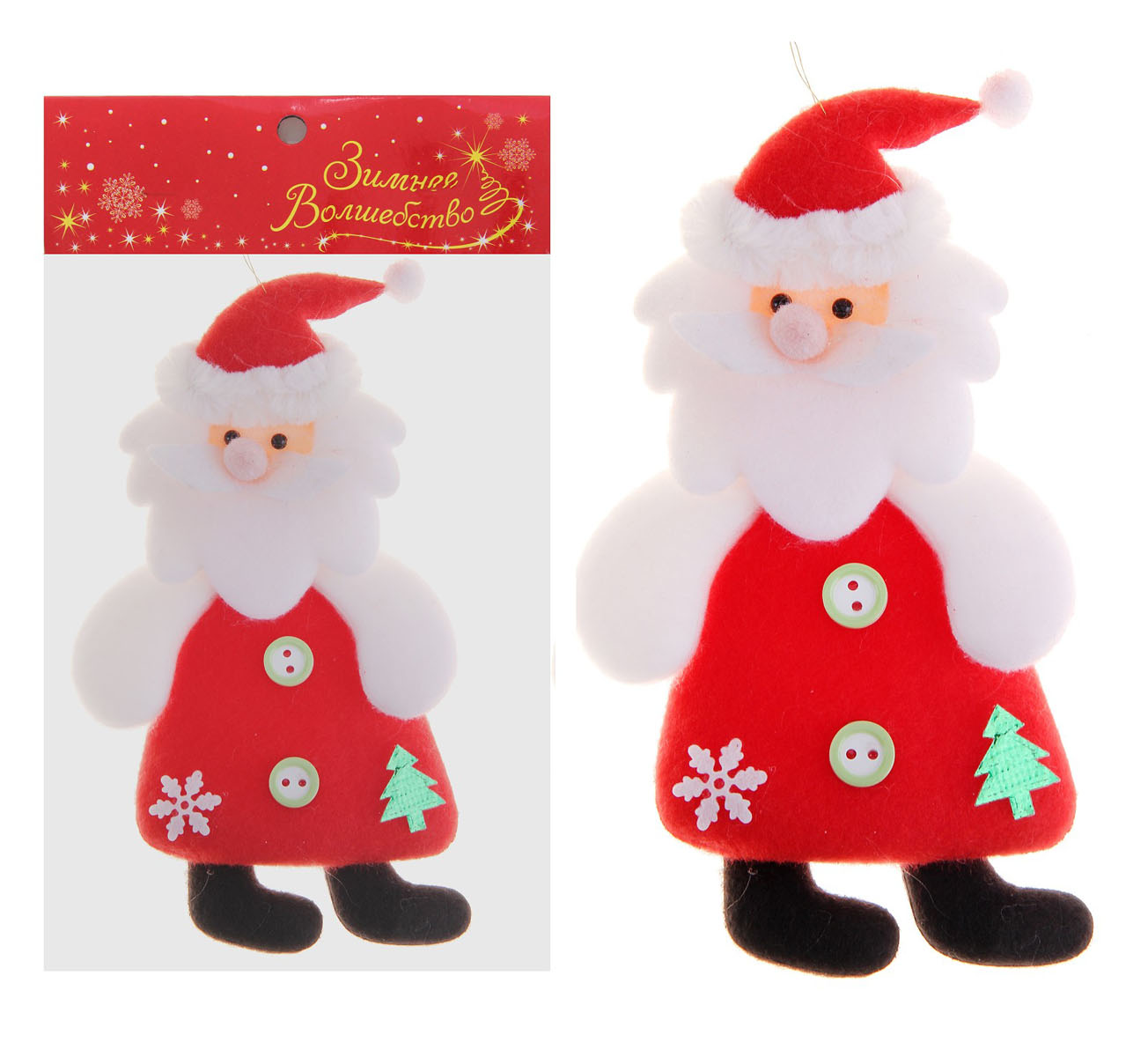 """Новогоднее украшение Sima-land """"Дед Мороз с елочкой"""" прекрасно подойдет для праздничного декора вашего дома. Сувенир выполнен в виде текстильной фигурки Деда Мороза, который украшен красивыми пуговицами, елочкой и снежинкой. Изделие оснащено текстильной петелькой для подвешивания. Такая оригинальная фигурка оформит интерьер вашего дома или офиса в преддверии Нового года. Оригинальный дизайн и красочное исполнение создадут праздничное настроение. Кроме того, это отличный вариант подарка для ваших близких и друзей.    Материал: пластик, текстиль."""