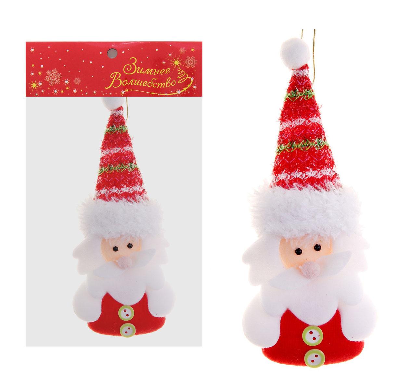 Новогоднее подвесное украшение Sima-land Дед Мороз, цвет: красный, 19 см х 7 см. 718534 игровые фигурки maxitoys фигура дед мороз в плетеном кресле музыкальный