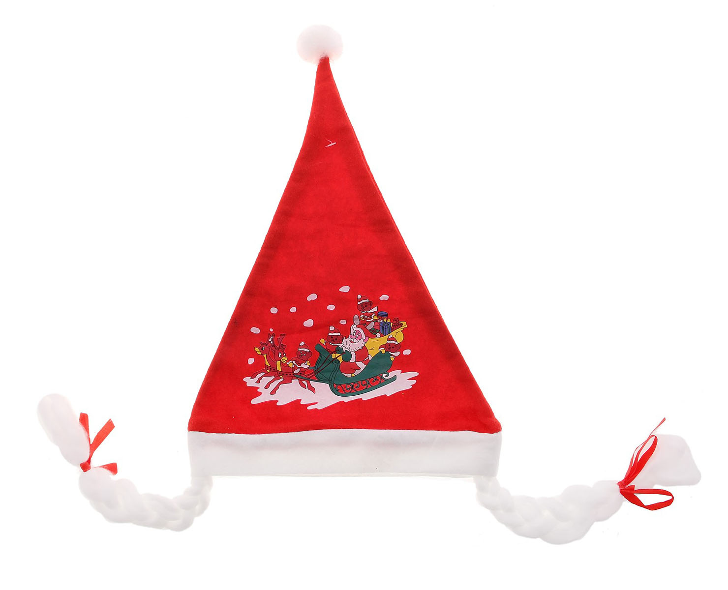 Колпак новогодний Sima-land, с косичками, 40 х 27 см719604Новогодний колпак Sima-land развеселит вас и ваших друзей в праздничную ночь. Колпак, выполненный из текстиля, оформлен помпоном и косичками. Радуйте себя и родных, дарите подарки и хорошее настроение! Откройте для себя удивительный мир сказок и грез. Почувствуйте волшебные минуты ожидания праздника, создайте новогоднее настроение вашим дорогим и близким.