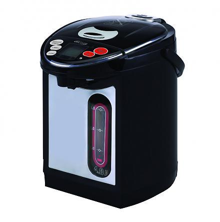 Brand 4404B, Black термопот4404BТермопот – это своеобразный гибрид чайника и термоса. Это японское изобретение позволяет кипятить воду и сохранять ее горячей в течение суток, а некоторые модели и неограниченное количество времени. Это позволяет не только в любой момент получить горячую воду, но и сэкономить электроэнергию, так как не нужно будет кипятить ее снова и снова.Температура воды в термопоте остается на уровне 95-98 градусов в течение пяти-шести часов после кипячения, а после – около 80 градусов. Разные модели термопотов обладают различными функциями. К примеру, практически все термопоты можно настроить на определенный температурный режим – для заваривания чая или кофе, приготовления детского питания и других целей.Термопот способен сохранять воду горячей долгое время и при этом не тратить электроэнергию за счет хорошей термоизоляции, которая сводит к минимуму потери тепла. Термопот при полном потреблении мощности требует около 0,7—0,8 кВт, что в несколько раз меньше, чем потребление мощности обычного электрического чайника.