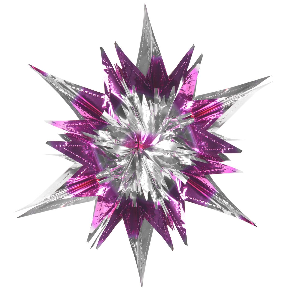 Новогоднее подвесное украшение Звезда, цвет: серебристый, сиреневый. 2700927009Новогоднее украшение Звезда отлично подойдет для декорации вашего дома и новогодней ели. Украшение выполнено из ПВХ в форме многогранной многоцветной звезды. С помощью специальной петельки звезду можно повесить в любом понравившемся вам месте. Украшение легко складывается и раскладывается благодаря металлическим кольцам. Новогодние украшения несут в себе волшебство и красоту праздника. Они помогут вам украсить дом к предстоящим праздникам и оживить интерьер по вашему вкусу. Создайте в доме атмосферу тепла, веселья и радости, украшая его всей семьей. Коллекция декоративных украшений из серии Magic Time принесет в ваш дом ни с чем не сравнимое ощущение волшебства!Размер украшения (в сложенном виде): 25 см х 21,5 см.