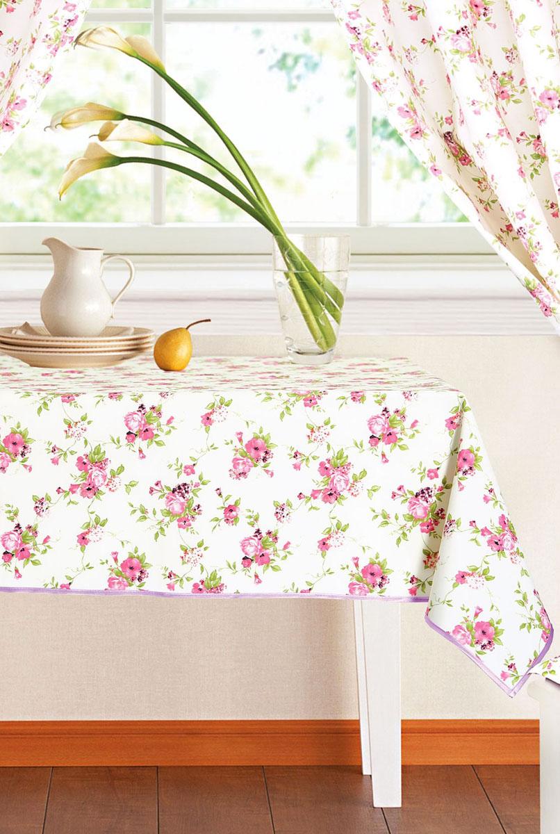 """Прямоугольная скатерть Garden """"Цветочные мотивы"""" органично впишется в интерьер вашей кухни, а оригинальный дизайн удовлетворит даже самый изысканный вкус. Изделие выполнено из полиэстера и декорировано изображением цветов. Края скатерти обработаны бейкой с принтом в разноцветную клетку. Скатерть поможет создать атмосферу уюта и домашнего тепла в интерьере вашей кухни, а также станет настоящим украшением праздничного стола."""