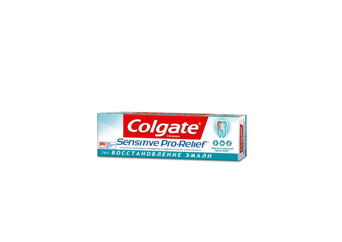 Colgate Зубная паста Sensitive Pro-Relief, восстановление эмали, для чувствительных зубов, 75 млFTH39359/RU00129AЗубная паста Colgate Sensitive Pro-Relief, восстановление эмали мгновенно и надолго снижает повышенную чувствительность зубов также как и базовая формула. При регулярном использовании создает восстанавливающий слой, состоящий из минералов, входящих в состав зубной эмали, который действует против повышенной чувствительности. Товар сертифицирован.