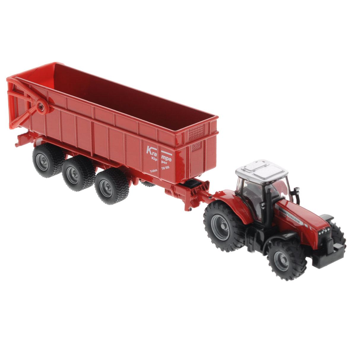 Siku Трактор Massey Ferguson с прицепом-кузовом трактор с прицепом св ход 36см dickie
