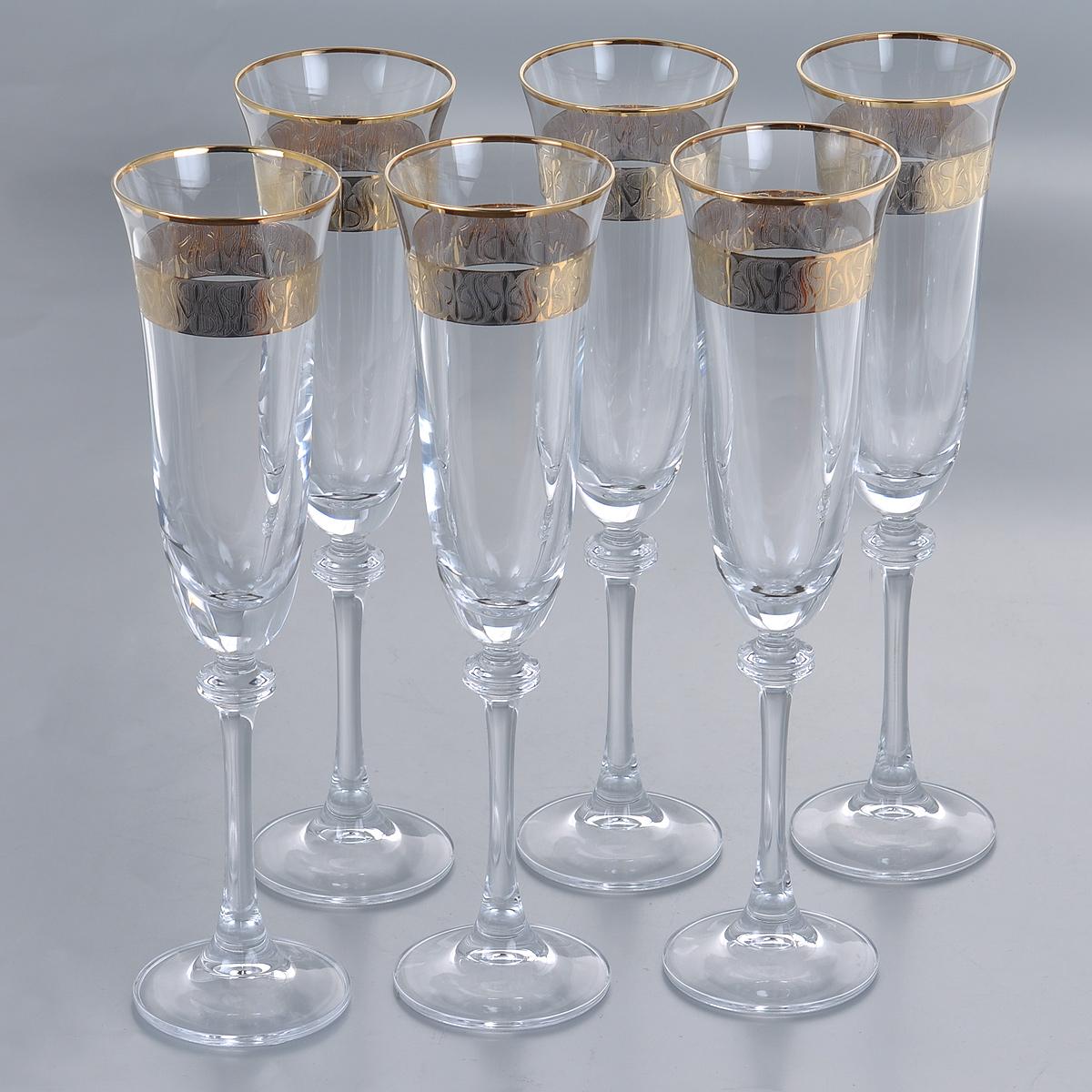 Набор бокалов для шампанского Crystalite Bohemia Александра, цвет: золотистый, 190 мл, 6 шт набор бокалов для бренди 6 шт crystalite bohemia набор бокалов для бренди 6 шт