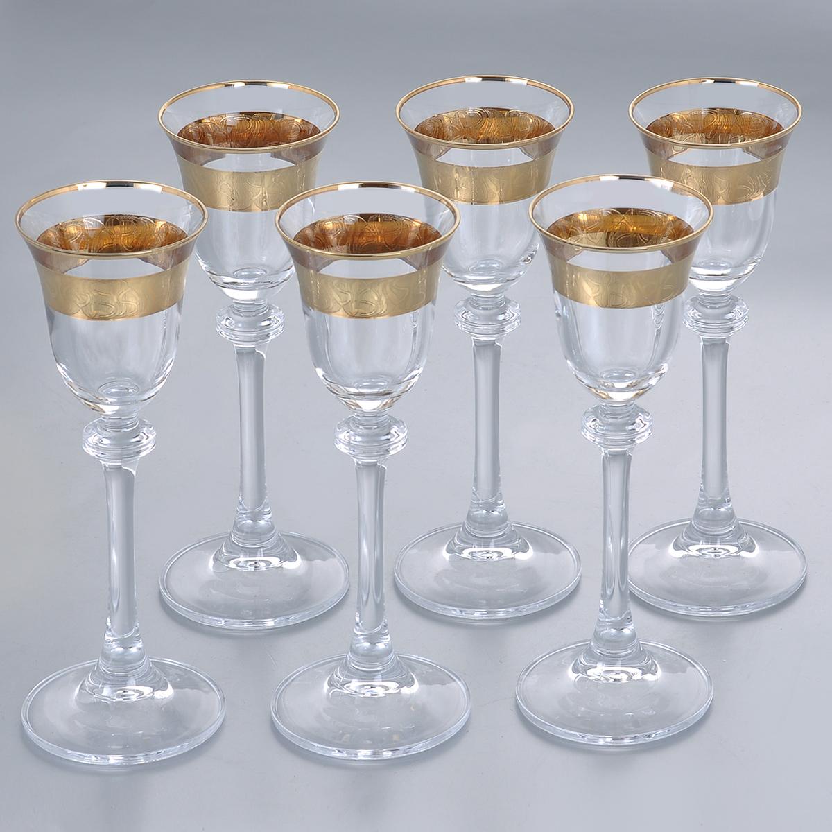Набор рюмок для ликера Crystalite Bohemia Александра, 60 мл, 6 шт1SD70/60/436532KНабор Crystalite Bohemia Александра состоит из шести рюмок, выполненных из прочного высококачественного прозрачного стекла. Изящные рюмки на высоких ножках, декорированные золотистым орнаментом и окантовкой, прекрасно подойдут для подачи ликера. Они излучают приятный блеск и издают мелодичный звон. Рюмкисочетают в себе элегантный дизайн и функциональность. Благодаря такому набору пить напитки будет еще вкуснее.Набор рюмок Crystalite Bohemia Александра прекрасно оформит праздничный стол и создаст приятную атмосферу за романтическим ужином. Такой набор также станет хорошим подарком к любому случаю. Не использовать в посудомоечной машине и микроволновой печи.