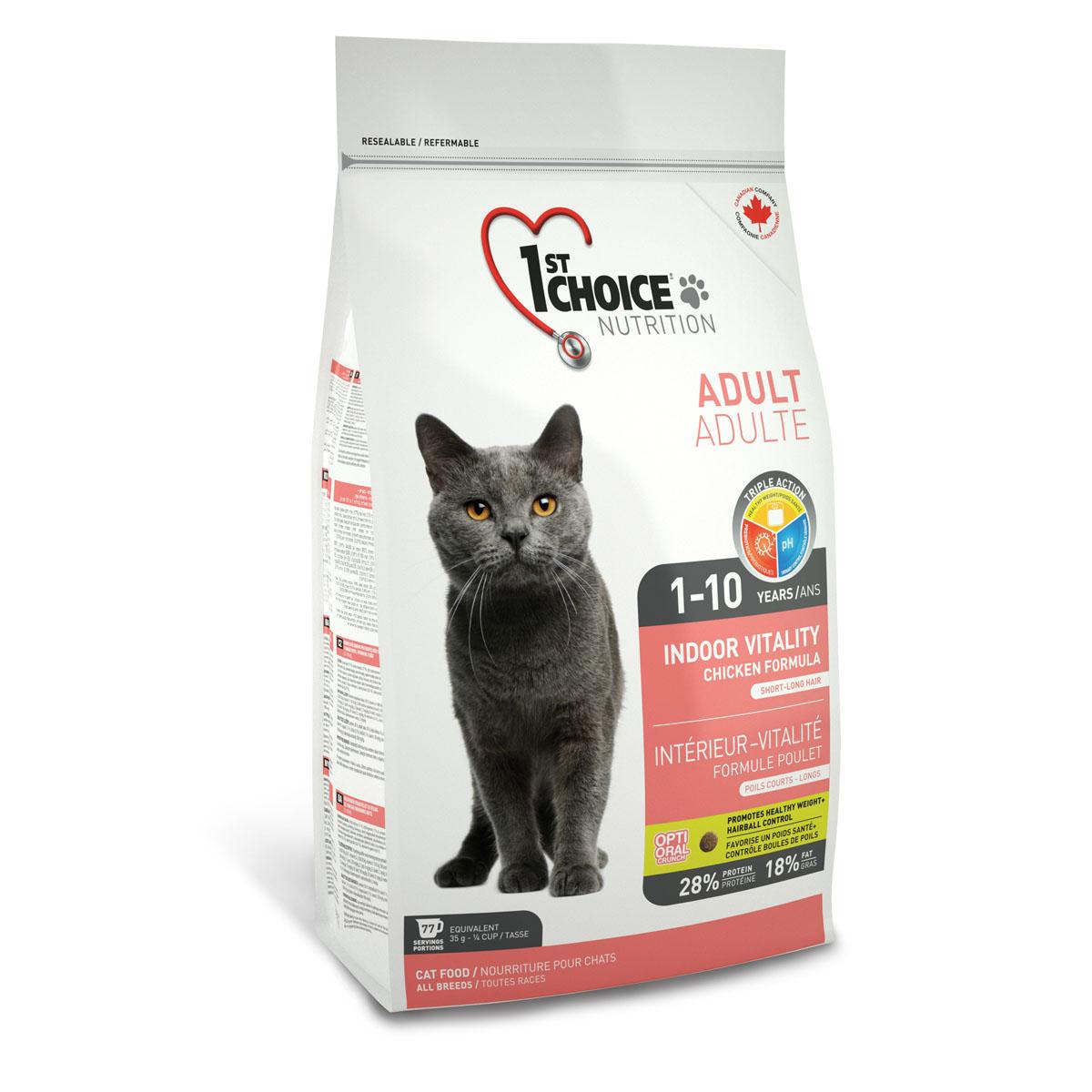 Корм сухой 1st Choice Adult для живущих в помещении взрослых кошек, с курицей, 5,44 кг56666Сухой корм 1st Choice Adult - идеальная формула для домашних кошек со специальными тщательно отобранными ингредиентами. Помогает сохранить идеальную кондицию и оптимальный вес. Идеальный рН-баланс для здоровья мочевыделительной системы. Содержит экстракт юкки Шидигера, которая связывает аммиак и уменьшает запах экскрементов.Состав: свежая курица 17%, мука из мяса курицы 17%, рис, гороховый протеин, куриный жир, сохраненный смесью натуральных токоферолов (витамин Е), мякоть свеклы, коричневый рис, специально обработанные ядра ячменя и овса, сушеное яйцо, гидролизат куриной печени, цельное семя льна, жир лосося, сушеная мякоть томата, клетчатка гороха, калия хлорид, лецитин, кальция карбонат, холина хлорид, соль, кальция пропионат, натрия бисульфат, таурин, DL- метионин, L-лизин, экстракт дрожжей (источник маннан-олигосахаридов), железа сульфат, аскорбиновая кислота (витамин С), экстракт цикория (источник инулина), цинка оксид, натрия селенит, альфа-токоферол ацетат (витамин Е), никотиновая кислота, экстракт юкки Шидигера, кальция иодат, марганца оксид, L-карнитин, D-кальция пантотенат, тиамина мононитрат, рибофлавин, пиридоксина гидрохлорид, витамин А, холекальциферол (витамин Д3), биотин, сушеная мята (0,01%), сушеная петрушка 0,01%, экстракт зеленого чая 0,01%, цинка протеинат, витамин В12, кобальта карбонат, фолиевая кислота, марганца протеинат, меди протеинат. Гарантированный анализ: сырой протеин мин. 28%, сырой жир мин.1 8%, сырая клетчатка макс. 3%, влага макс. 10%, зола макс. 8,5%, кальций мин. 1,1%, фосфор мин. 0,9%, марганец макс. 0,1%, витамин А мин. 34 000 МЕ/кг, витамин Д3 мин. 2 000 МЕ/кг, витамин Е мин. 150 МЕ/кг, таурин 2100 мг/кг, маннан-олигосахариды 1000 мг/кг, фрукто-олигосахариды 500 мг/кг. Энергетическая ценность корма: 440 ккал/100 г.Товар сертифицирован.