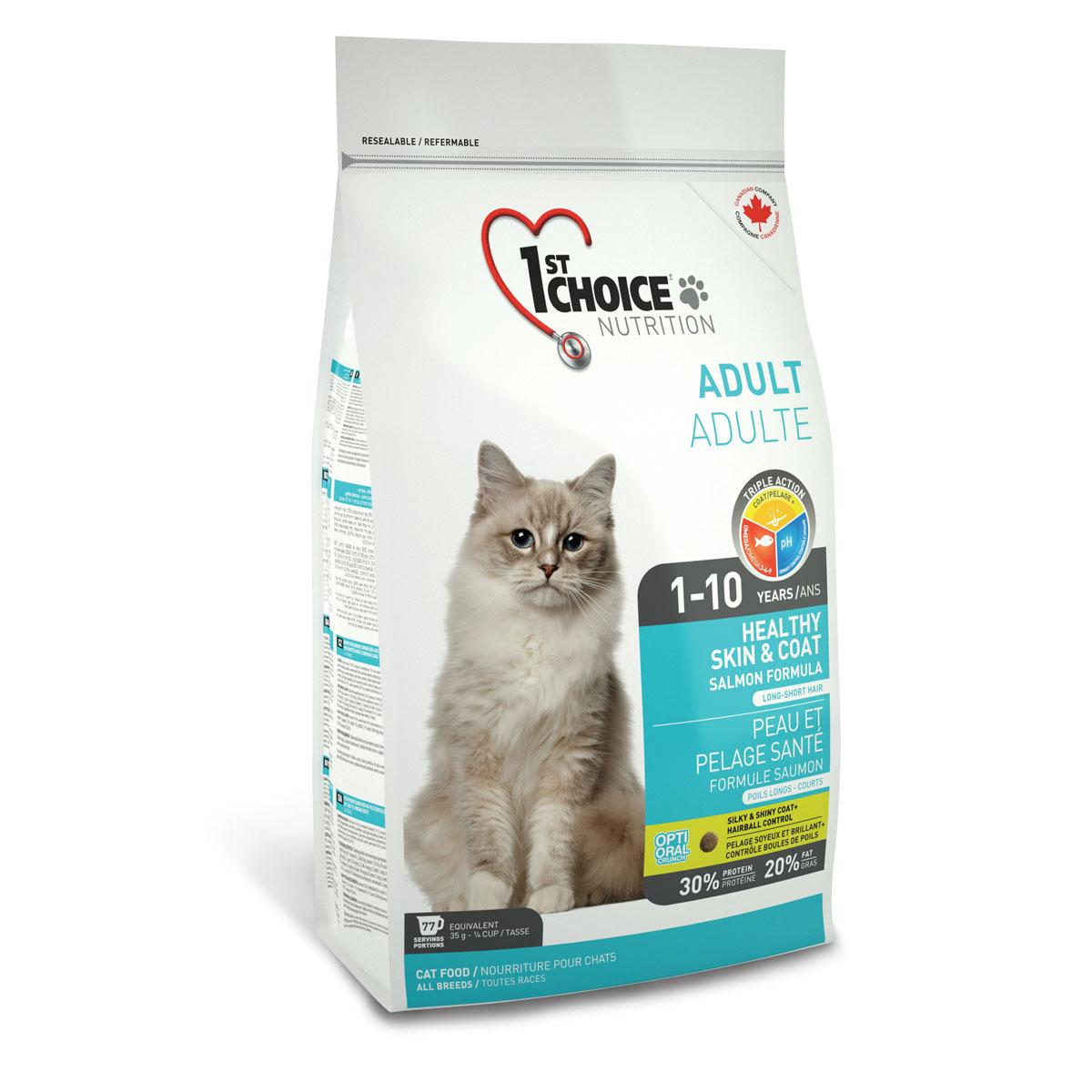 Корм сухой 1st Choice Adult для здоровья шерсти и кожи взрослых кошек, с лососем, 907 г56668Корм сухой 1st Choice Adult разработан для улучшения состояния кожи и шерсти взрослых кошек в любое время года, шерсть любой длины становится мягкой и блестящей. Жир лосося является лучшим источником Омега 3-6-9жирных кислот, обеспечивающих здоровье кожи. Сочетание рыбного белка и рыбьего жира гарантирует здоровую и роскошную шерсть. Свежий лосось - главный ингредиент, который понравится даже самым привередливым гурманам.Ингредиенты: свежий лосось 18%, мука из сельди менхаден 17%, рис, гороховый протеин, куриный жир, сохраненный смесью натуральных токоферолов (витамин Е), сушеное яйцо, мякоть свеклы, клетчатка гороха, гидролизат куриной печени, коричневый рис, специально обработанные ядра ячменя и овса, цельное семя льна, жир лосося, сушеная мякоть томата, калия хлорид, лецитин, кальция карбонат, холина хлорид, соль, кальция пропионат, натрия бисульфат, таурин, DL- метионин, L-лизин, экстракт дрожжей, железа сульфат, аскорбиновая кислота (витамин С), экстракт цикория, цинка оксид, натрия селенит, альфа-токоферол ацетат (витамин Е), никотиновая кислота, экстракт юкки Шидигера, L-цистин, кальция иодат, марганца оксид, L-карнитин, D-кальция пантотенат, тиамина мононитрат, рибофлавин, пиридоксина гидрохлорид, витамин А, холекальциферол (витамин Д3), биотин, сушеная мята 0,01%, сушеная петрушка 0,01%, экстракт зеленого чая 0,01%, цинка протеинат, витамин В12, кобальта карбонат, фолиевая кислота, марганца протеинат, меди протеинат.Гарантированный анализ: сырой протеин мин. 30%, сырой жир мин. 20%, сырая клетчатка макс. 6%, влага макс. 10%, зола макс. 9%, кальций мин. 1,2%, фосфор мин. 1%, марганец макс. 0,1%, таурин 2600 мг/кг, витамин А мин. 34 000 МЕ/кг, витамин Д3 мин. 2 000 МЕ/кг, витамин Е мин. 150 МЕ/кг, омега-3 жирные кислоты 1,92%, омега-6 жирные кислоты 9,19%, омега-9 жирные кислоты 0,26%. Энергетическая ценность: 455 ккал/мерный стакан/ 250 мл - 3639 ккал. Товар сертифици