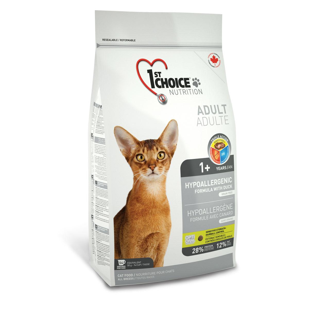 Корм сухой 1st Choice Adult для взрослых кошек, гипоалергенный, беззерновой, с уткой и картофелем, 2,72 кг