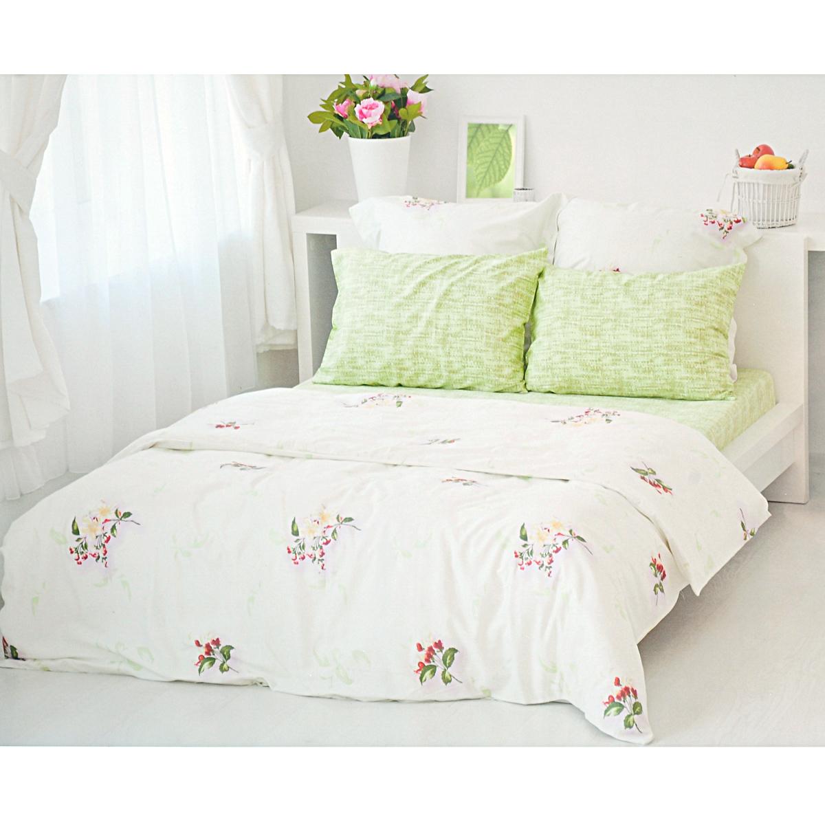 Комплект белья Tete-a-tete Цвет, 2-спальный, наволочки 70х70, 50х70, цвет: белый, зеленый, сиреневый комплект постельного белья quelle tete a tete 1011109 1 5сп 70х70 2