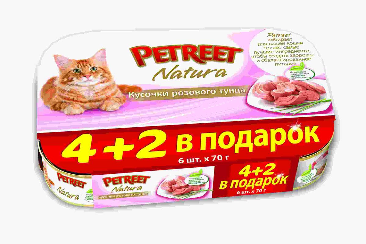 Консервы для кошек Petreet Natura, с кусочками розового тунца, 70 г, 6 шт консервы для кошек petreet natura с кусочками розового тунца и морковью 70 г 6 шт