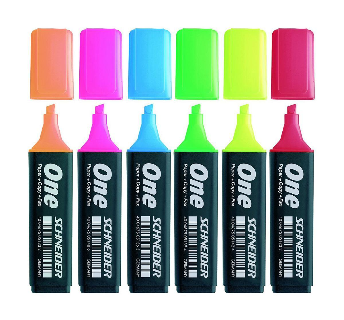 Набор текстмаркеров ONE, 1+5 мм, 6 шт., (желтый, оранжевый, розовый, зеленый, синий, красный).S15106