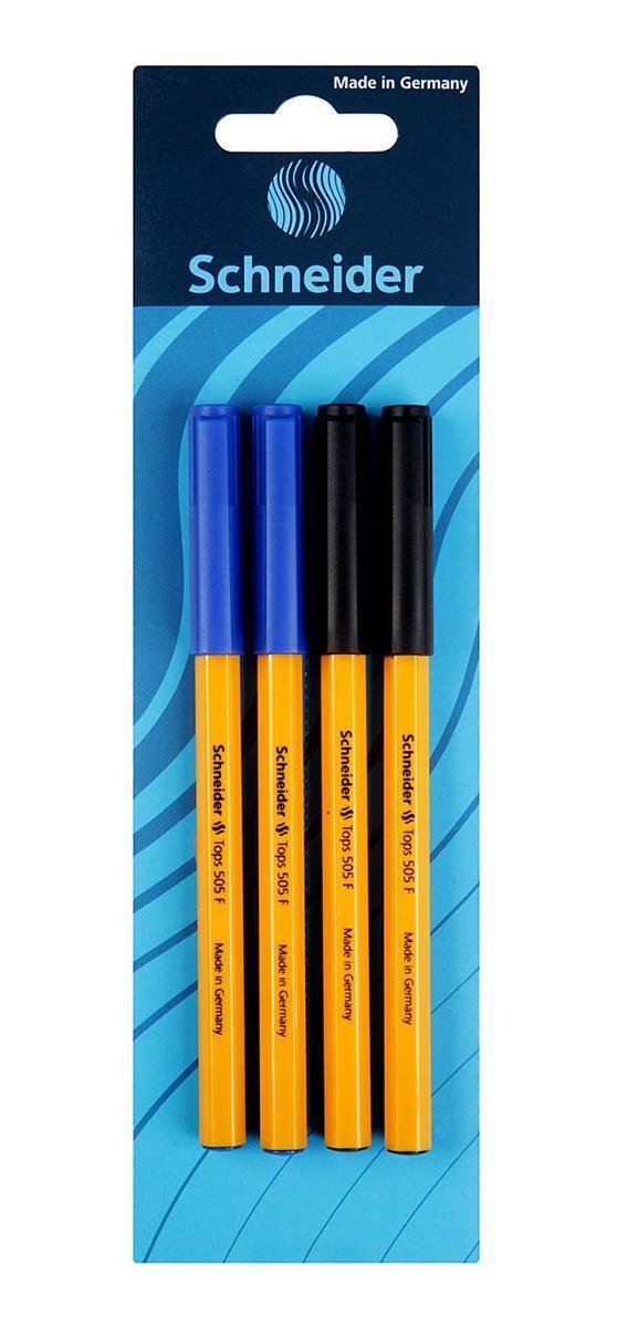 Набор ручек шариковых TOPS 505, F-0,5 мм, 4 шт.,2 черных+2 синих.S50704-2/13