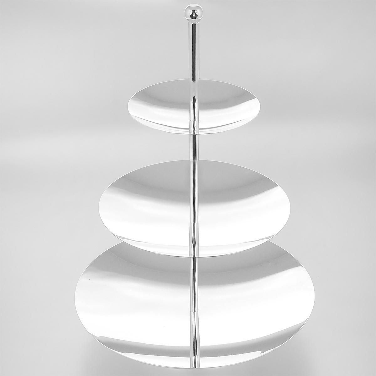 Ваза универсальная Marquis, 3-х ярусная, высота 36 см. 3073-MR3073-MRУниверсальная трехъярусная ваза Marquis изготовлена из стали с серебряно-никелевым покрытием. Круглые блюда имеют абсолютно гладкую зеркальную поверхность. Ваза прекрасно подойдет для красивой сервировки конфет, пирожных и других кондитерских изделий, а также фруктов. Такая ваза придется по вкусу и ценителям классики, и тем, кто предпочитает утонченность и изысканность. Она великолепно украсит праздничный стол и подчеркнет прекрасный вкус хозяина, а также станет отличным подарком.