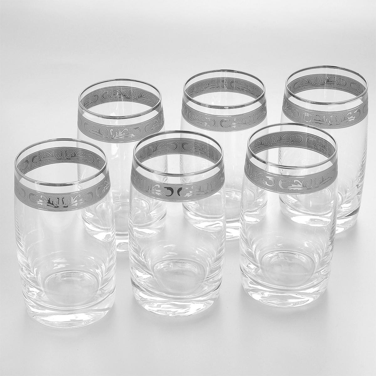 Набор стаканов Crystalite Bohemia Идеал, 250 мл, 6 шт. 25015/250/378500K25015/250/378500KНабор Crystalite Bohemia Идеал состоит из шести стаканов, выполненных из прочного высококачественного прозрачного стекла. Изделия декорированы серебристой окантовкой и оригинальным орнаментом. Стаканы предназначены для подачи воды, сока и других напитков. Они излучают приятный блеск и издают мелодичный звон. Стаканы сочетают в себе элегантный дизайн и функциональность. Благодаря такому набору пить напитки будет еще вкуснее.Набор стаканов Crystalite Bohemia Идеал прекрасно оформит праздничный стол и создаст приятную атмосферу за романтическим ужином. Такой набор также станет хорошим подарком к любому случаю. Не использовать в посудомоечной машине и микроволновой печи.