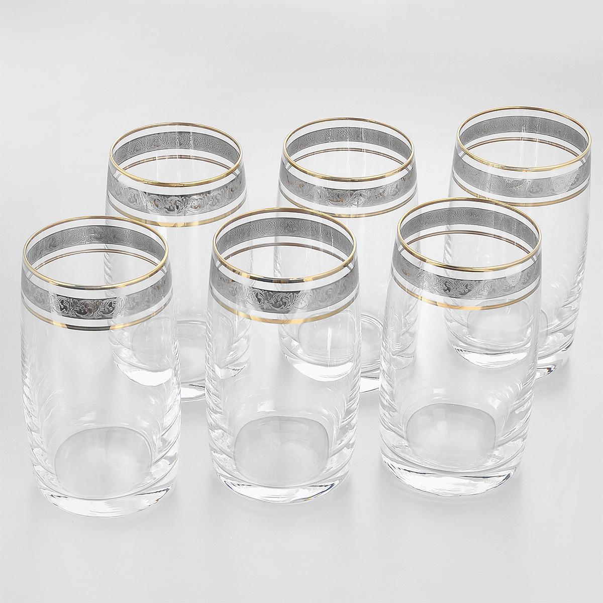 Набор стаканов Crystalite Bohemia Идеал, 250 мл, 6 шт. 25015/250/436342K25015/250/436342KНабор Crystalite Bohemia Идеал состоит из шести стаканов, выполненных из прочного высококачественного прозрачного стекла. Изделия декорированы золотистой окантовкой и оригинальным орнаментом. Стаканы предназначены для подачи воды, сока и других напитков. Они излучают приятный блеск и издают мелодичный звон. Стаканы сочетают в себе элегантный дизайн и функциональность. Благодаря такому набору пить напитки будет еще вкуснее.Набор стаканов Crystalite Bohemia Идеал прекрасно оформит праздничный стол и создаст приятную атмосферу за романтическим ужином. Такой набор также станет хорошим подарком к любому случаю. Не использовать в посудомоечной машине и микроволновой печи.