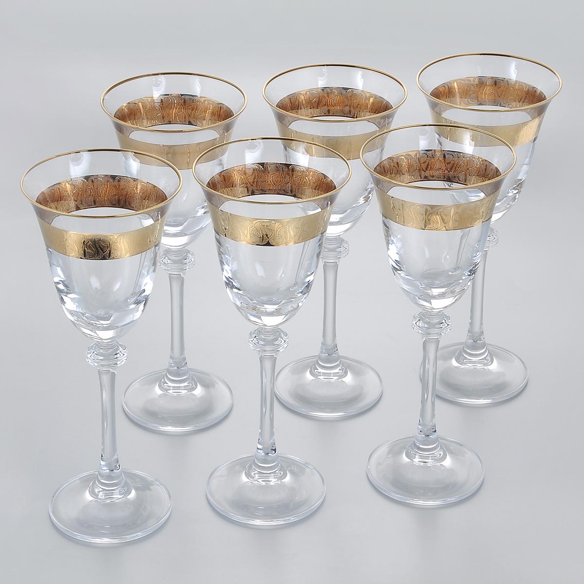 Набор бокалов для белого вина Crystalite Bohemia Александра, цвет: золотистый, 185 мл, 6 шт1SD70/185/436532KНабор Crystalite Bohemia Александра состоит из шести бокалов, выполненных из прочного высококачественного прозрачного стекла. Изящные бокалы на высоких ножках, декорированные золотистым орнаментом и окантовкой, прекрасно подойдут для подачи белого вина. Они излучают приятный блеск и издают мелодичный звон. Бокалы сочетают в себе элегантный дизайн и функциональность. Благодаря такому набору пить напитки будет еще вкуснее.Набор бокалов Crystalite Bohemia Александра прекрасно оформит праздничный стол и создаст приятную атмосферу за романтическим ужином. Такой набор также станет хорошим подарком к любому случаю. Не использовать в посудомоечной машине и микроволновой печи.