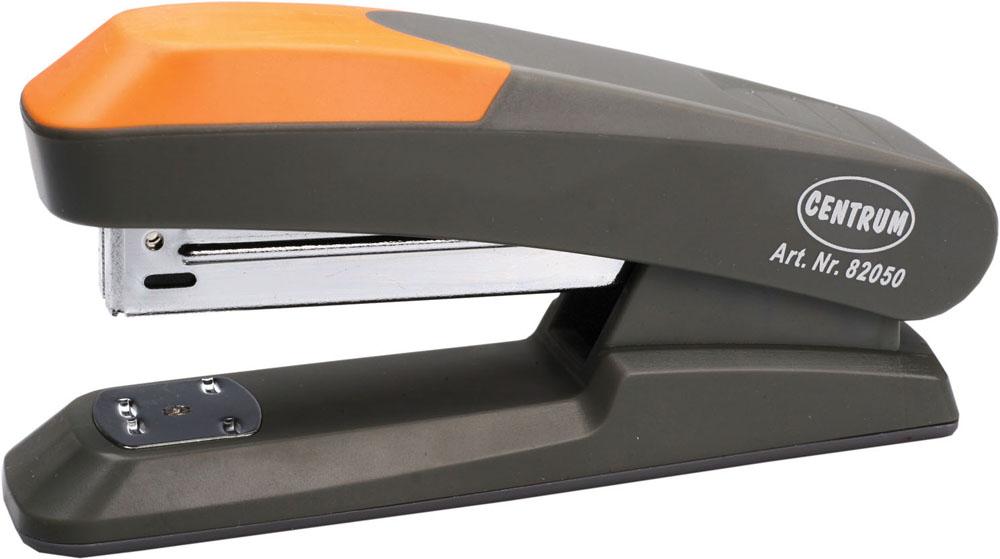 Степлер Centrum, для скоб №24/6, 26/6, цвет: серый, оранжевый. 8205082050Стильный, удобный и практичный степлер Centrum - незаменимый офисный инструмент. Он выполнен из пластика с металлическим механизмом. Степлер рассчитан на скрепление 20 листов скобами №№ 24/6, 26/6. Максимальное расстояние от края листа до места скрепления до 9 см. Степлер Centrum с надежным корпусом и эргономичным дизайном гарантирует стабильную и качественную работу в течение долгого времени.