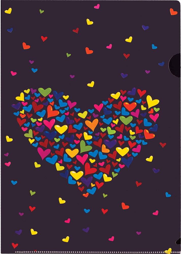 Папка-уголок Centrum Сердце, цвет: черный. Формат А4, 5 шт84555ОПапка-уголок Centrum Сердце - это удобный и практичный инструмент, предназначенный для хранения и транспортировки рабочих бумаг и документов формата А4. Папка изготовлена из плотного глянцевого пластика, оформлена красочным изображением разноцветных сердечек в форме большого сердца. В комплект входят 5 папок формата А4. Папка-уголок - это незаменимый атрибут для студента, школьника, офисного работника. Такая папка надежно сохранит ваши документы и сбережет их от повреждений, пыли и влаги.